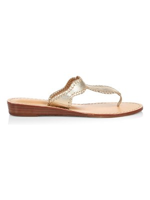 Jack Rogers jackie whipstitch metallic leather wedge thong sandals