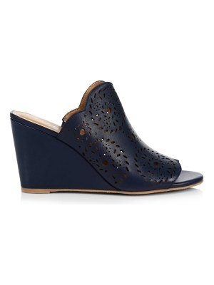 Jack Rogers ronnie lasercut leather wedge mules
