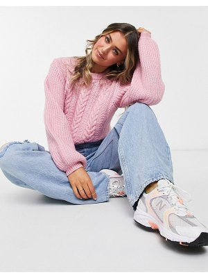 Jack Wills cable knit balloon sleeve sweater in pink