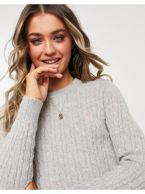 Jack Wills icon cable sweater in gray-grey