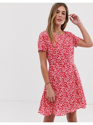 Jack Wills merriden fit and flare dress in floral-red