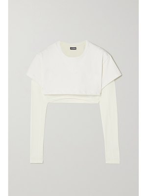 JACQUEMUS cropped layered cotton-jersey and stretch-lyocell t-shirt