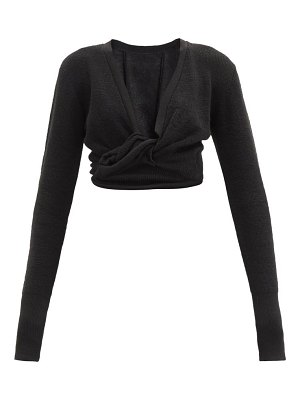 JACQUEMUS knotted-front cropped linen-blend top