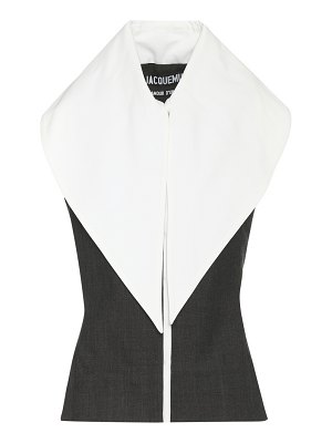 JACQUEMUS Le Haut Grand Col wool and cotton top