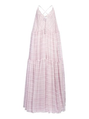 JACQUEMUS mistral gingham tiered maxi dress
