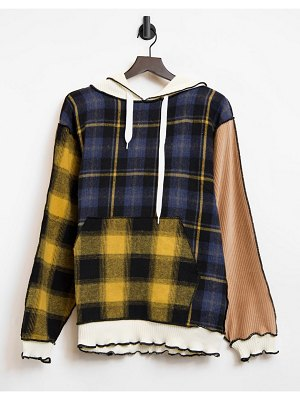 Jaded London coordinating oversized patchwork hoodie with distressed seams-multi