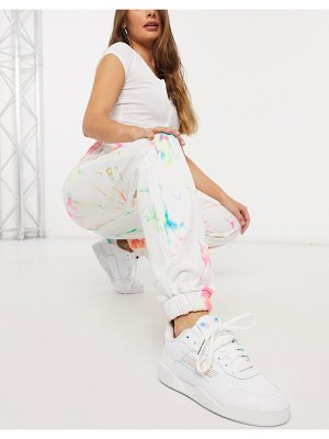 Jaded London oversized sweatpants in grunge tie-dye and graphics-white