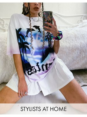 Jaded London oversized t-shirt with fantasy dolphin graphic two-piece-white