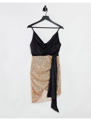 Jaded Rose 2 in 1 sequin wrap dress with satin cowl neck in rose gold