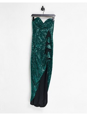 Jaded Rose bandeau thigh slit wrap dress in emerald green
