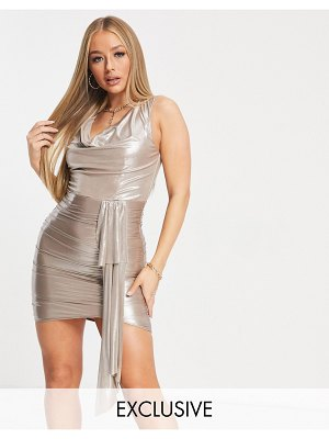 Jaded Rose exclusive mini dress with cowl and train detail in metallic champagne-cream