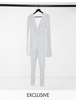 Jaded Rose exclusive sequin cape jumpsuit in silver