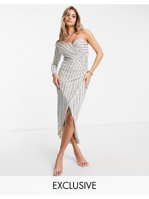 Jaded Rose exclusive sequin wrap one shoulder dress with thigh split in silver