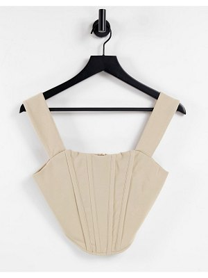 Jaded Rose exclusive square neck pointed corset detail top in stone-brown