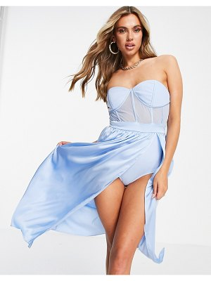 Jaded Rose exclusive strapless corset midi dress in ice blue-blues