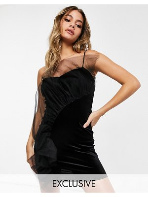 Jaded Rose exclusive velvet mini dress with tulle ruffle in black