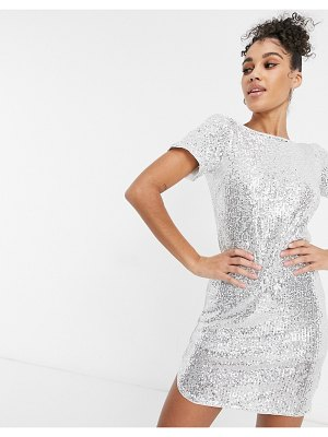 Jaded Rose t-shirt mini dress in silver sequin