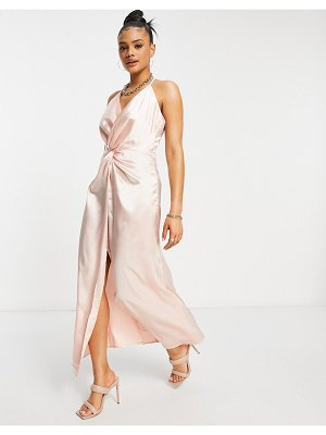 Jaded Rose twist front satin midaxi dress in pink-neutral