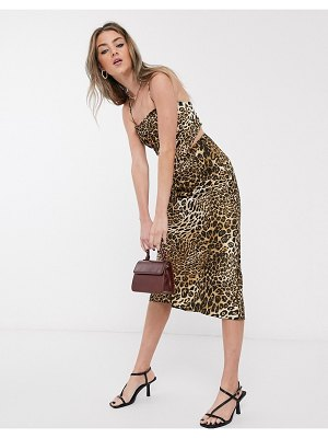 Jagger and Stone jagger & stone 90's hankerchief top in leopard print satin two-piece-brown