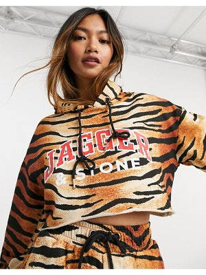 Jagger and Stone jagger & stone cropped hoodie with logo in tiger print-brown