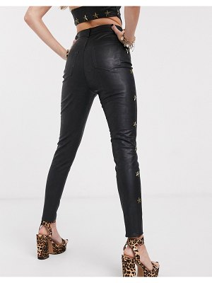 Jagger and Stone jagger & stone high waist pants with star studs in faux leather two-piece-black