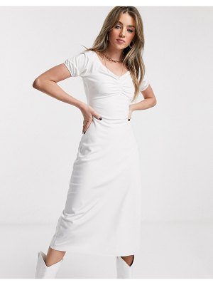 Jagger and Stone jagger & stone midi bardot milkmaid dress with ruched front-white