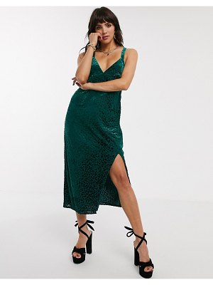 Jagger and Stone jagger & stone midi cami dress with ring detail in velvet leopard-green