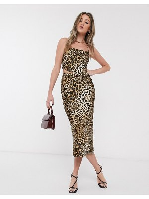 Jagger and Stone jagger & stone midi skirt in leopard print satin two-piece-brown