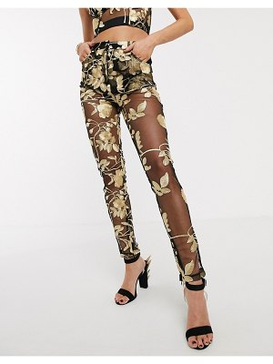 Jagger and Stone jagger & stone mom pants in metallic rose mesh-black