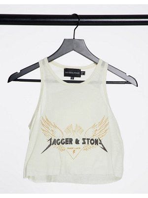 Jagger and Stone jagger & stone relaxed tank top with angel energy print-white