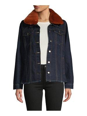 Jak & Rae Jeannie Faux Fur Collar Denim Jacket