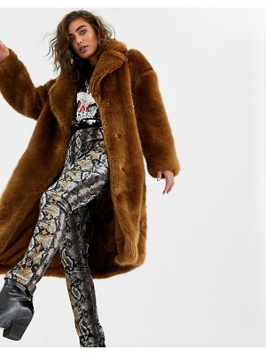 Jakke long coat in faux fur-brown
