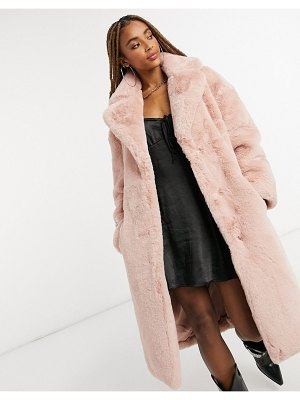 Jakke longline faux fur coat in recycled polyester with belt-pink