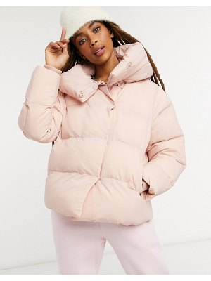 Jakke patricia cropped padded jacket with extreme collar in recycled polyester-pink