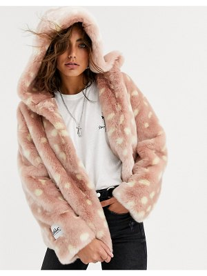 Jakke relaxed crop jacket with hood in faux fur fawn print-pink