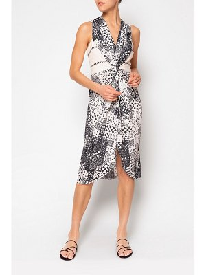 Jaline net sustain ava open-back printed voile and gauze dress