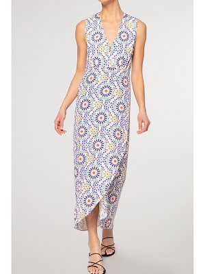 Jaline net sustain karla wrap-effect printed voile maxi dress