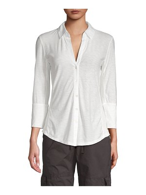 James Perse Long-Sleeve Cotton-Blend Top