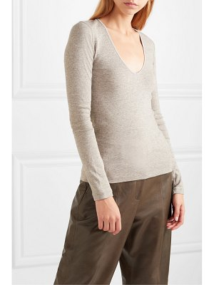 James Perse ribbed mélange cotton and yak-blend top