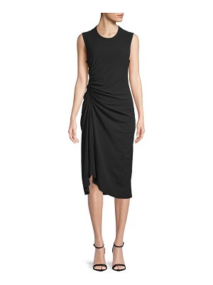 James Perse Ruched Cotton Midi Dress