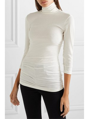 James Perse ruched stretch-cotton jersey turtleneck top
