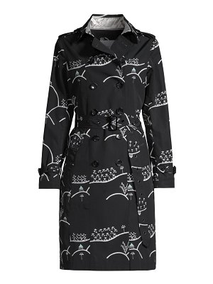 JANE POST floral-print downtown trench coat