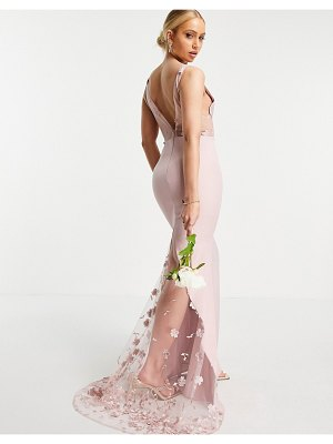 JARLO 3d floral lace maxi dress in blush-pink