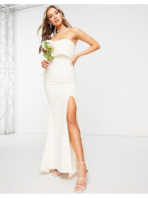 JARLO bandeau overlay maxi dress with thigh split in cream-white