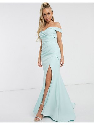 JARLO bardot maxi dress with sweetheart plunge in mint-green
