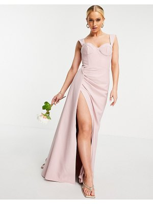 JARLO draped maxi dress with bust cup detail in blush-pink