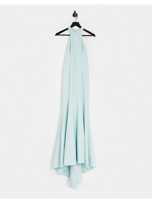 JARLO high neck lace back maxi dress in blue-green