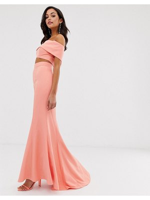 JARLO high waist maxi fishtail skirt two-piece in coral-pink
