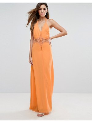 JARLO maxi dress with lace insert-orange