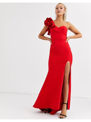 JARLO one shoulder maxi dress with ruffle detail in red